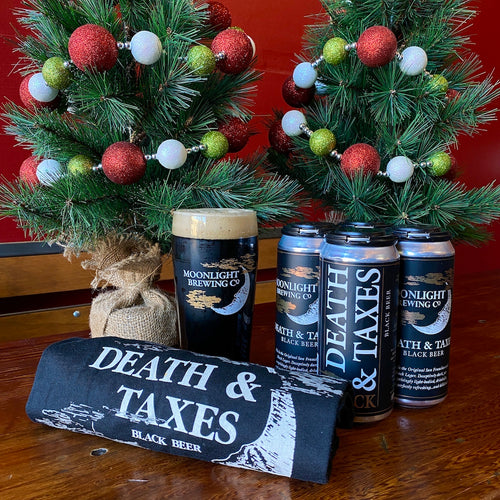 Death & Taxes gift basket with pint glass, 4-pack and t-shirt