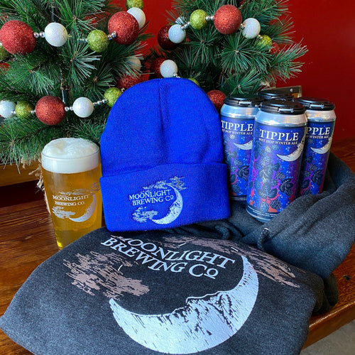 Moonlight Brewing Company gift basket with 4-pack, hoodie and beanie