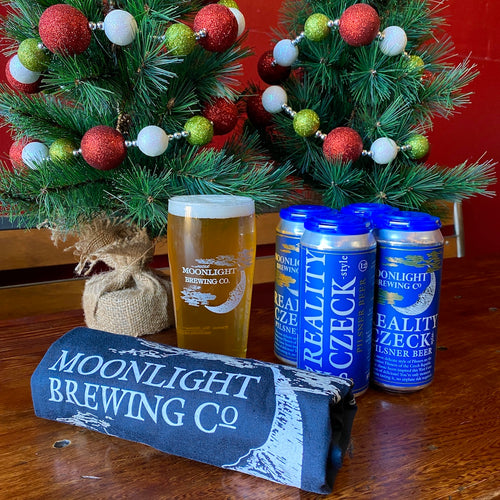 Moonlight Brewing Company gift basket with pint glass, 4-pack and t-shirt