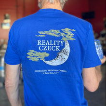 Load image into Gallery viewer, Model wearing men's Reality Czeck t-shirt showing back print