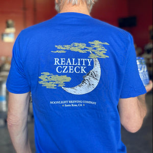 Model wearing men's Reality Czeck t-shirt showing back print