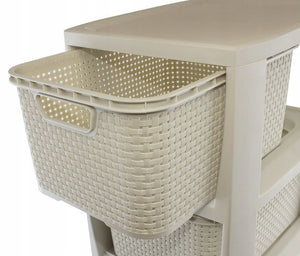 Rattan 2 kurver med hylle - Home And Beauty AS