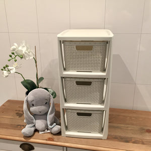 Rattan 3 kurver med hylle - Home And Beauty AS