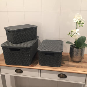 Rattan Kurv med lokk - Home And Beauty AS