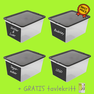 4 stk - Oppbevaringsboks 30 liter | Tavle - Home And Beauty AS
