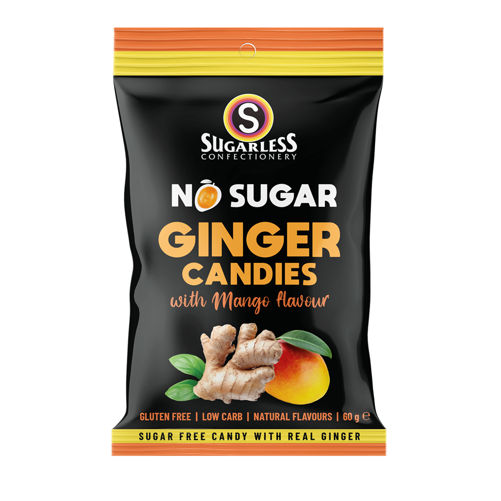 Mango flavoured Ginger Candies - Sugarless Confectionery