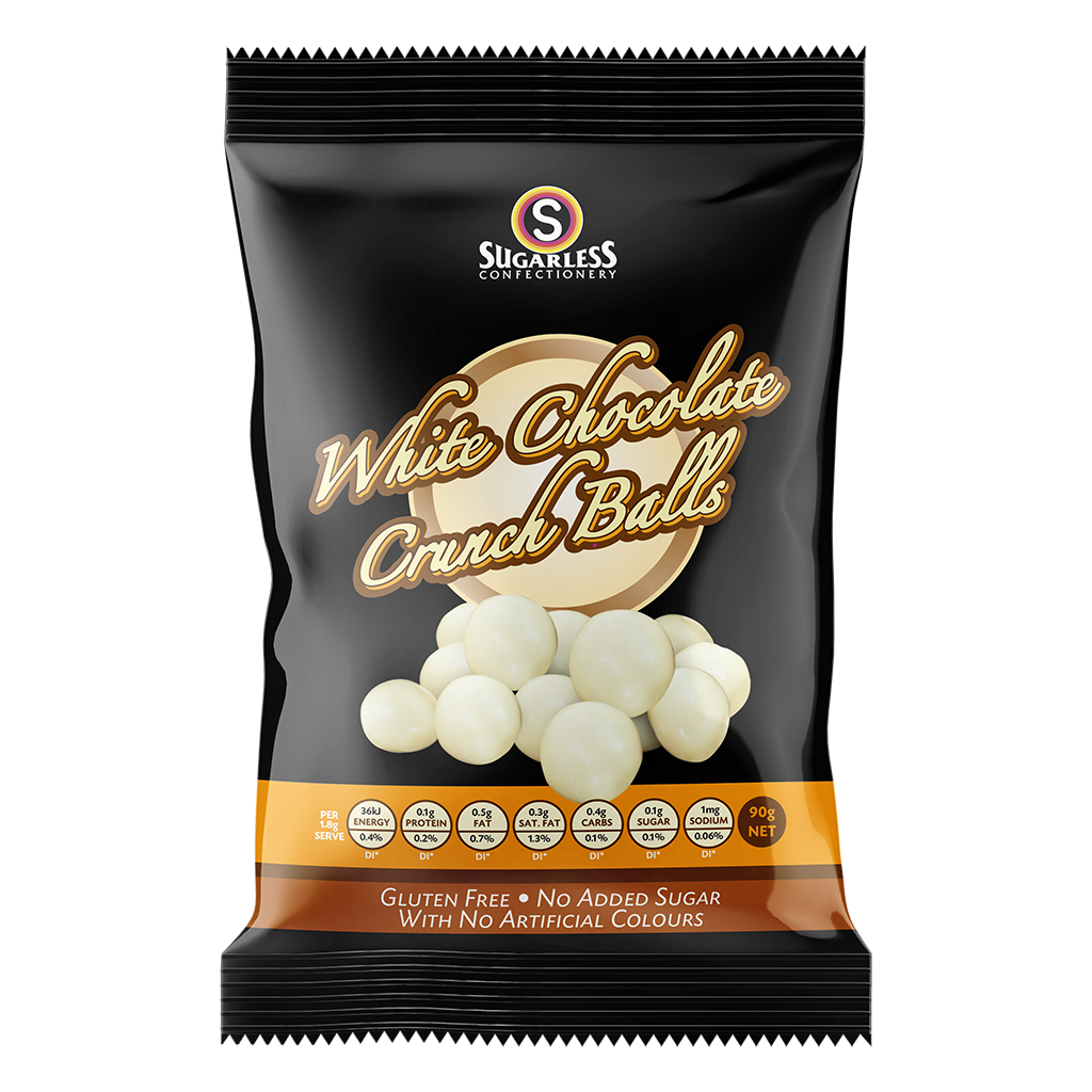 White Chocolate Crunch Balls - Sugarless Confectionery