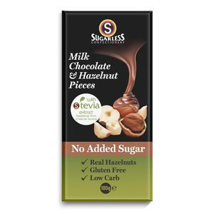 Milk Chocolate & Hazelnut Pieces - Sugarless Confectionery