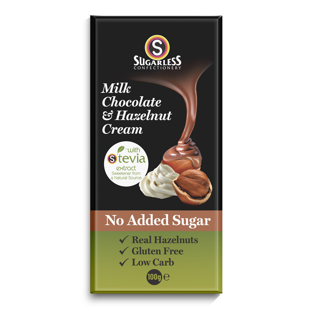 Milk Chocolate & Hazelnut Cream - Sugarless Confectionery