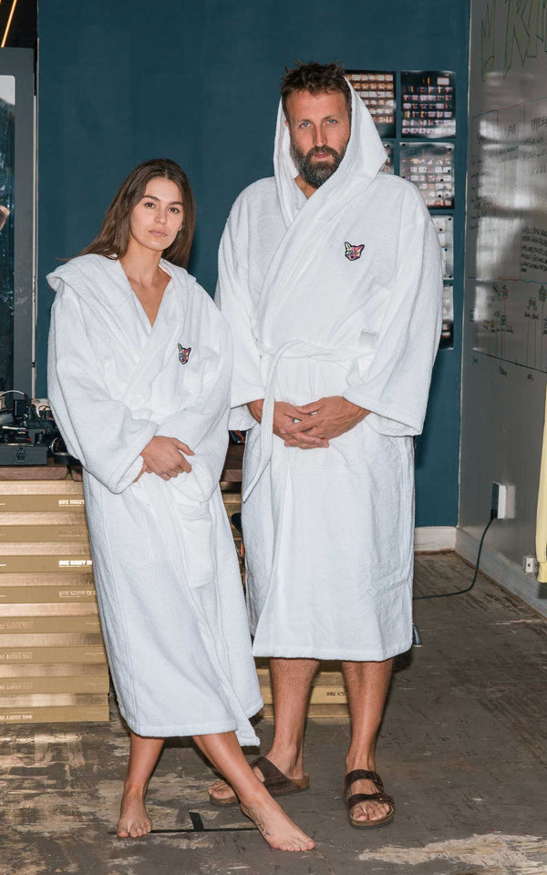 WHITE BATHROBE CAT - PARI USA , Wearepari, Paul Ripke, pari swim club, Newport Beach, pari