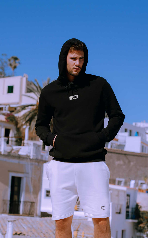 BLACK HOODIE BOX LOGO - PARI USA , Wearepari, Paul Ripke, pari swim club, Newport Beach, pari