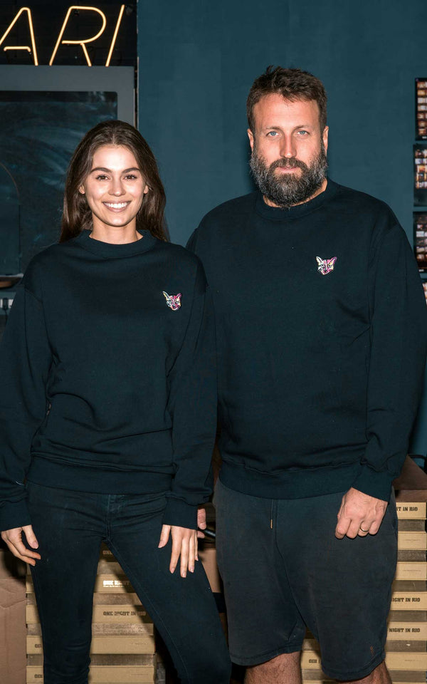 BLACK SWEATSHIRT CAT - PARI USA , Wearepari, Paul Ripke, pari swim club, Newport Beach, pari