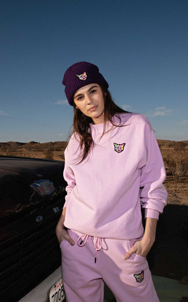 LILAC SWEATSHIRT CAT - PARI USA , Wearepari, Paul Ripke, pari swim club, Newport Beach, pari