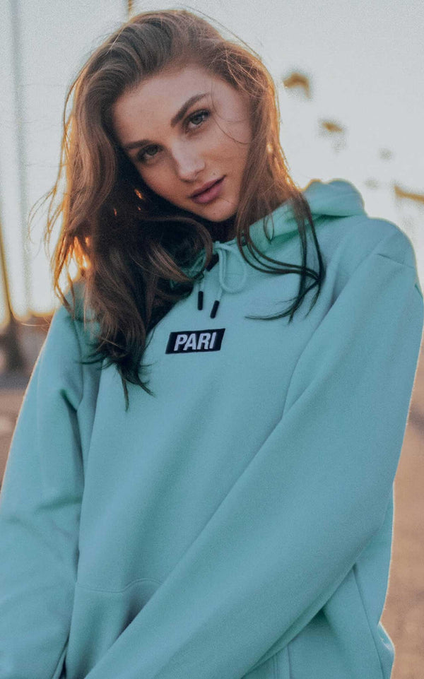 TURQUOISE HOODIE BOX LOGO - PARI USA , Wearepari, Paul Ripke, pari swim club, Newport Beach, pari