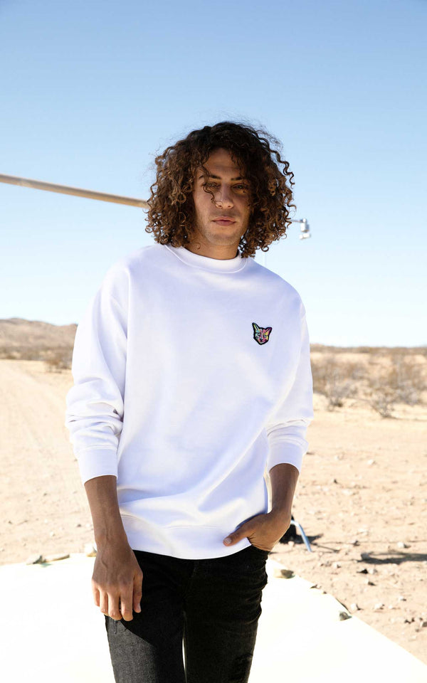 WHITE SWEATSHIRT CAT - PARI USA , Wearepari, Paul Ripke, pari swim club, Newport Beach, pari