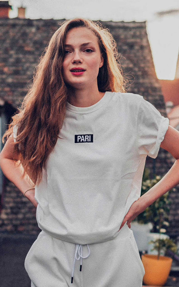 WHITE T-SHIRT BOX LOGO - PARI USA , Wearepari, Paul Ripke, pari swim club, Newport Beach, pari