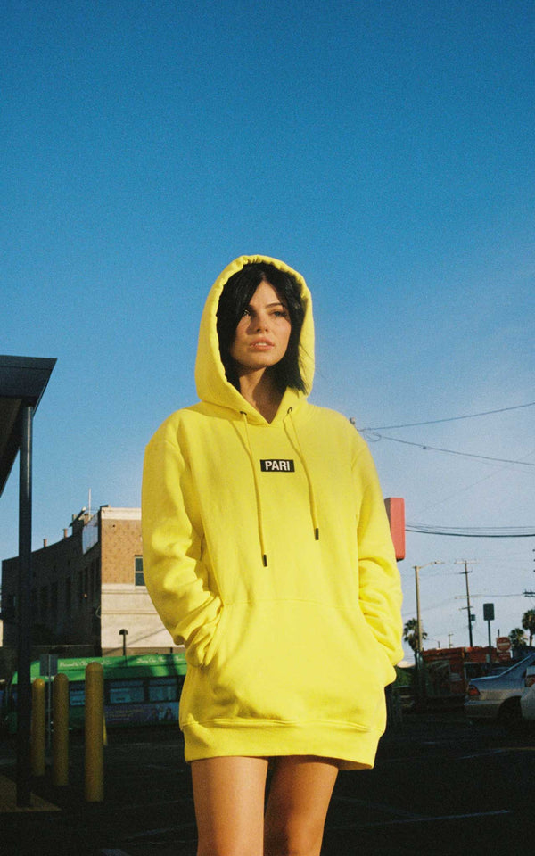 YELLOW HOODIE BOX LOGO - PARI USA , Wearepari, Paul Ripke, pari swim club, Newport Beach, pari