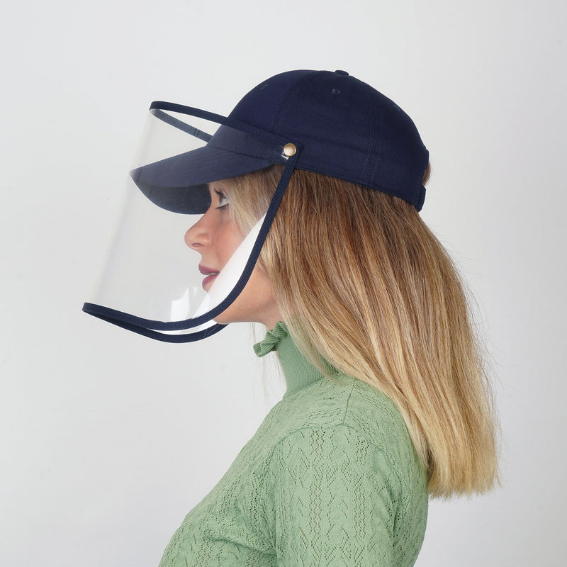 Cap Visor | Protective Cap with Face Shield | Navy blue - Currved
