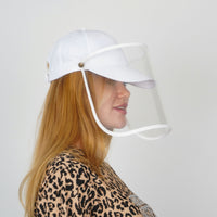 Cap Visor | Protective Cap with Face Shield | White - Currved