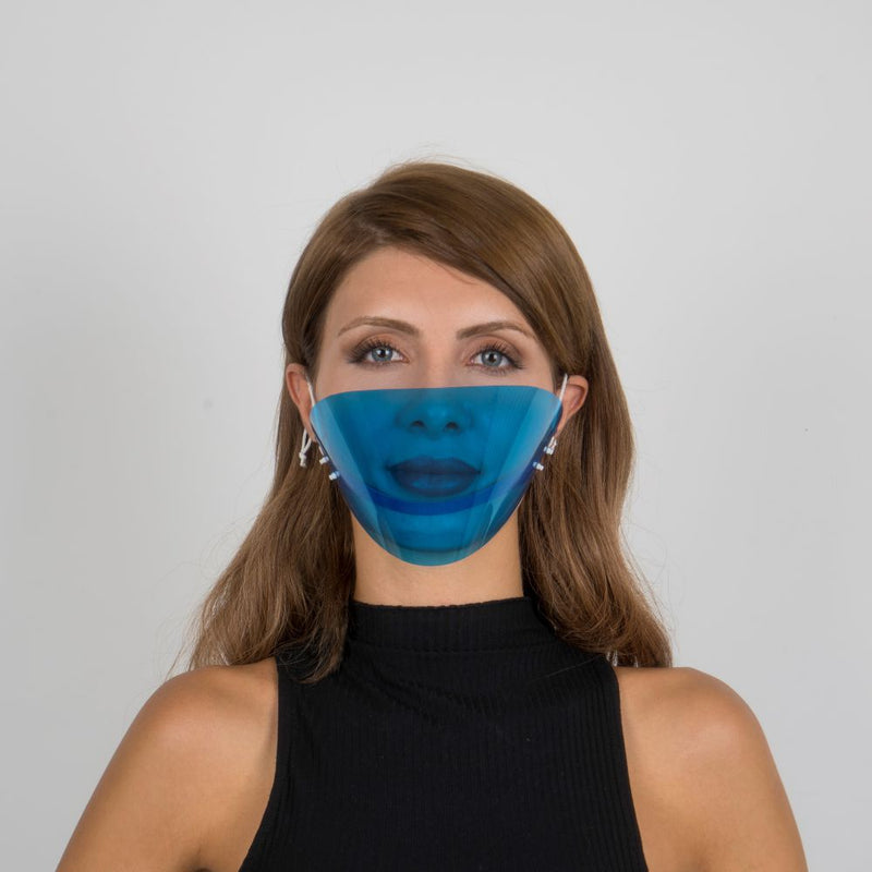 Colored Face Mouth Shield or Guard - Blue - Currved