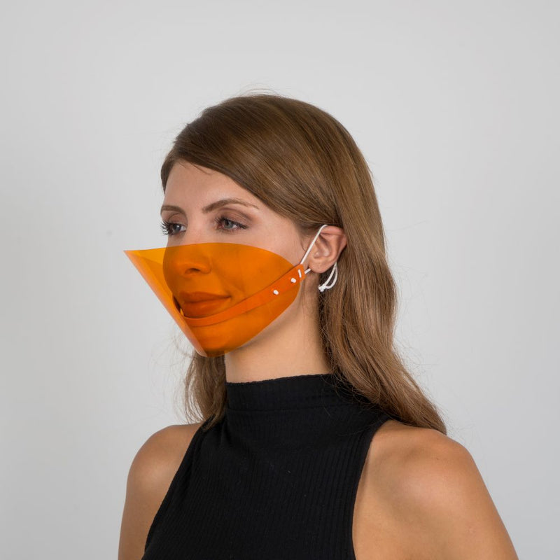 Colored Face Mouth Shield or Guard - Orange - Currved
