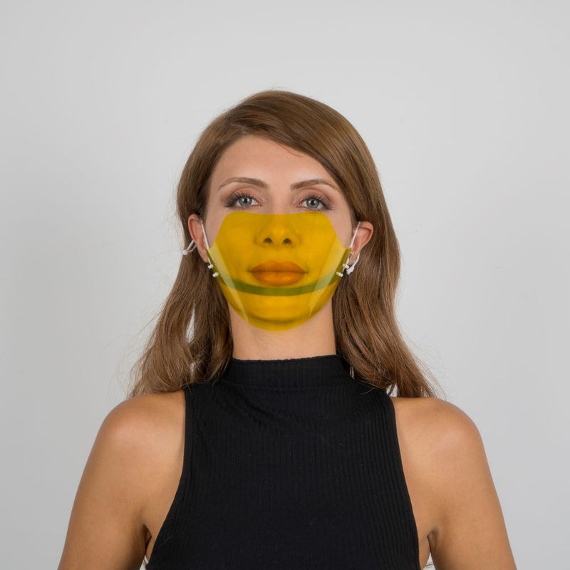 Colored Face Mouth Shield or Guard - Yellow - Currved