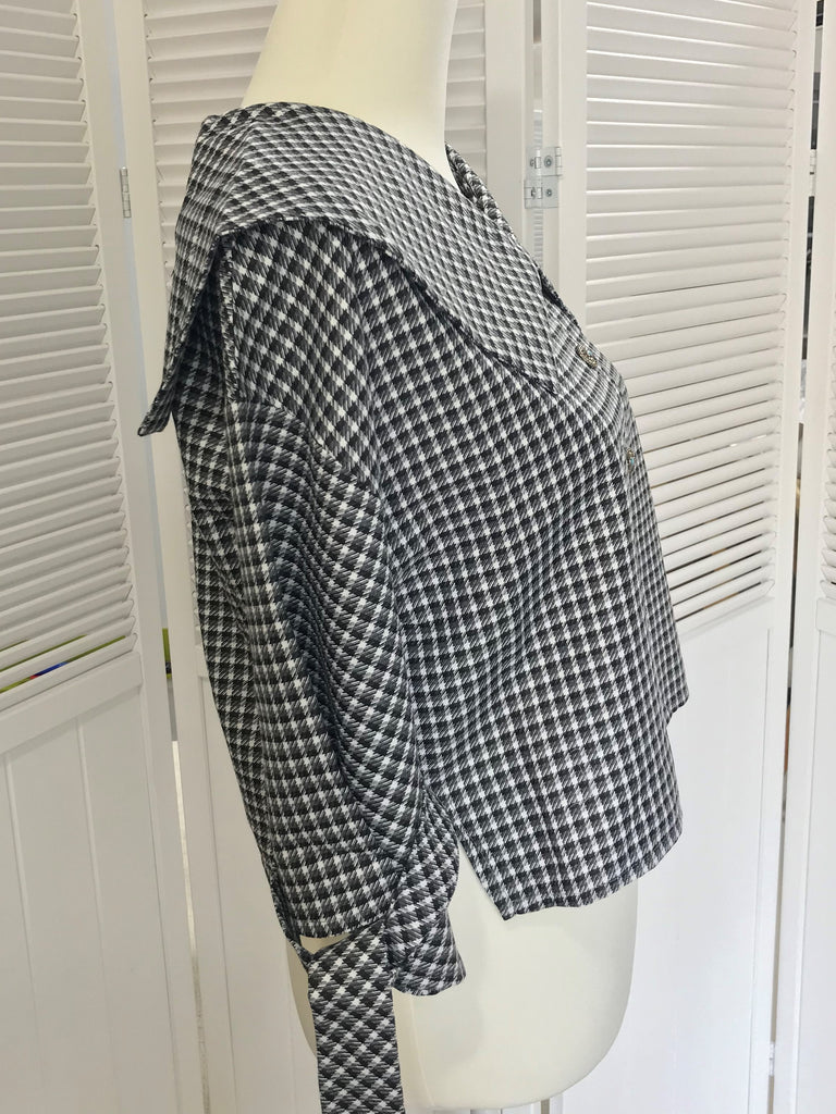 【定番商品】 Sailor plaid blouses / Black