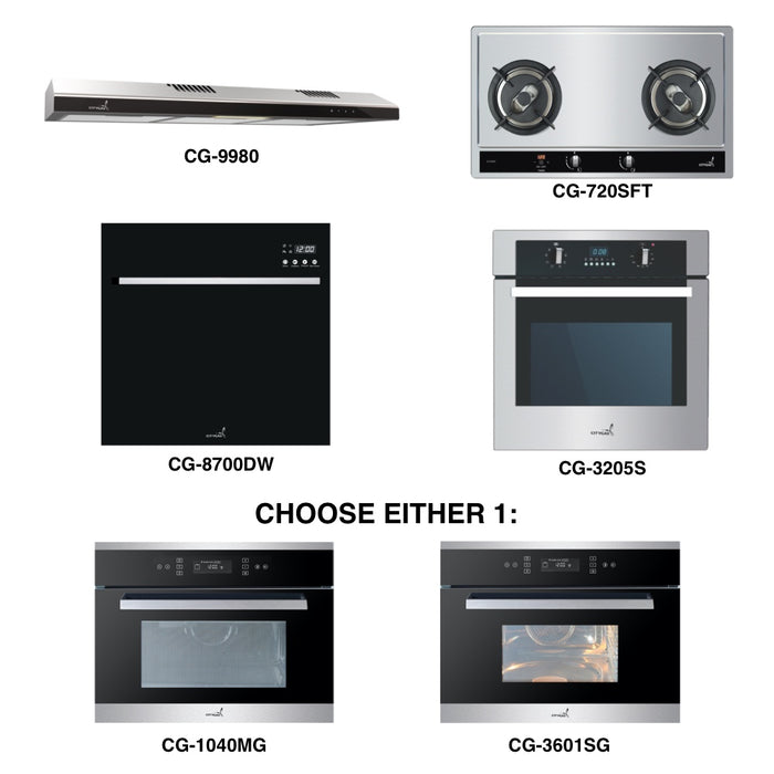 CG-720SFT & CG-9980 + Oven + Combi Oven (any) + Dishwasher