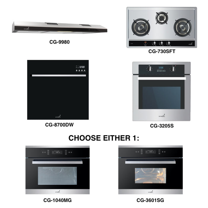 CG-730S & CG-9980 + Oven + Combi Oven (any) + Dishwasher