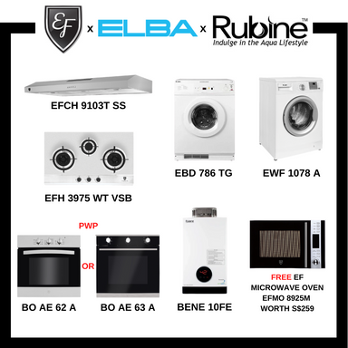 BUNDLE DEAL D - Hob + Hood + Gas Water Heater + Gas Clothes Dryer + Washer