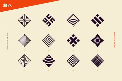 96 Abstract logo marks & geometric shapes collection