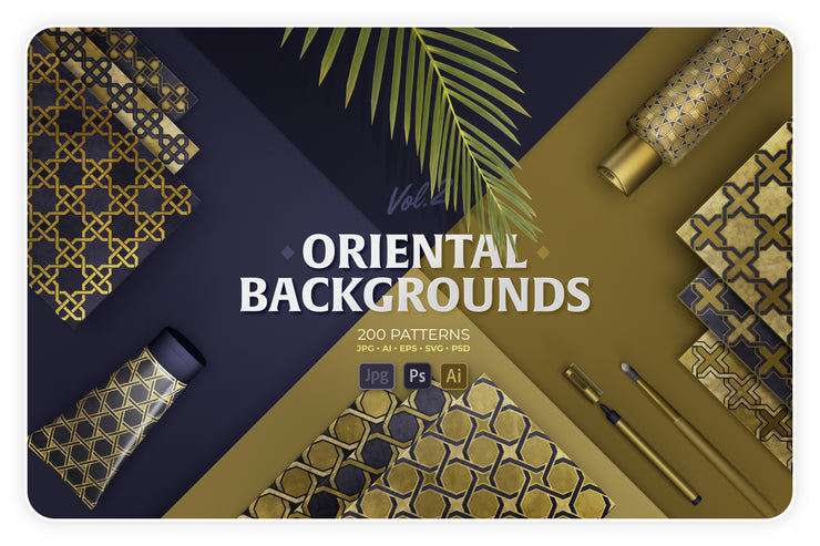 200 Oriental backgrounds collection