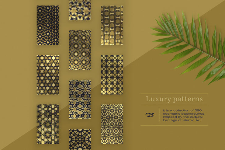 Luxury patterns – 250 geometric backgrounds collection