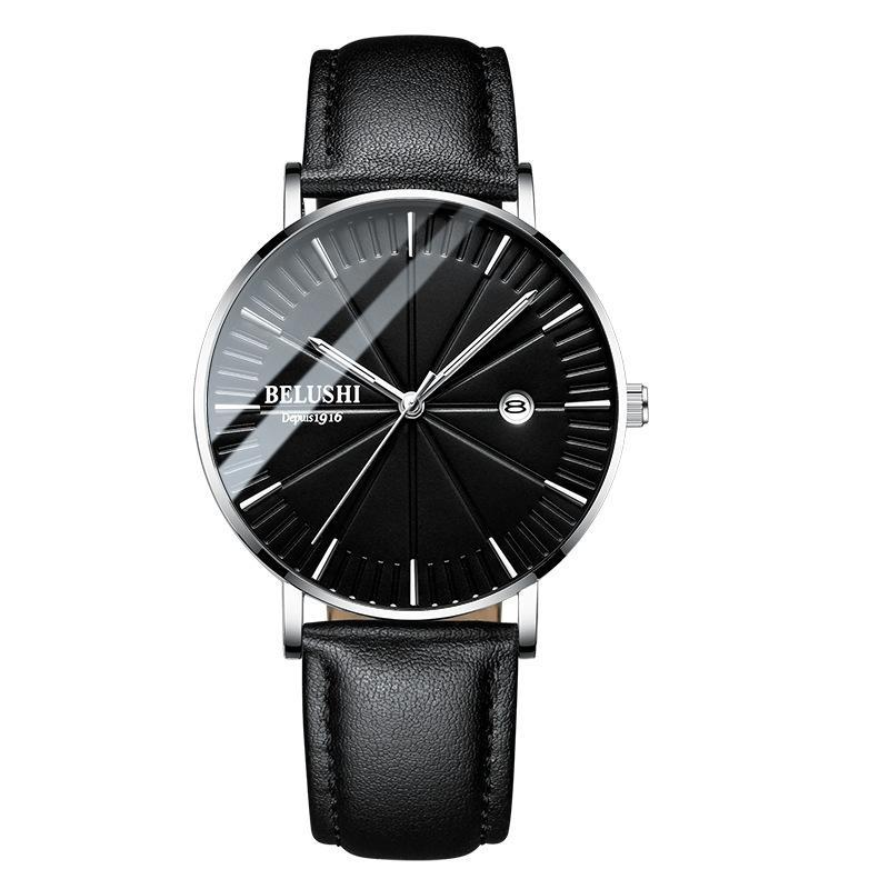 (Limited time offer)Simple Watch Men Business Quartz Wristwatches Waterproof Shock Resistant Leather Strap Outdoor Luxury Men Watches