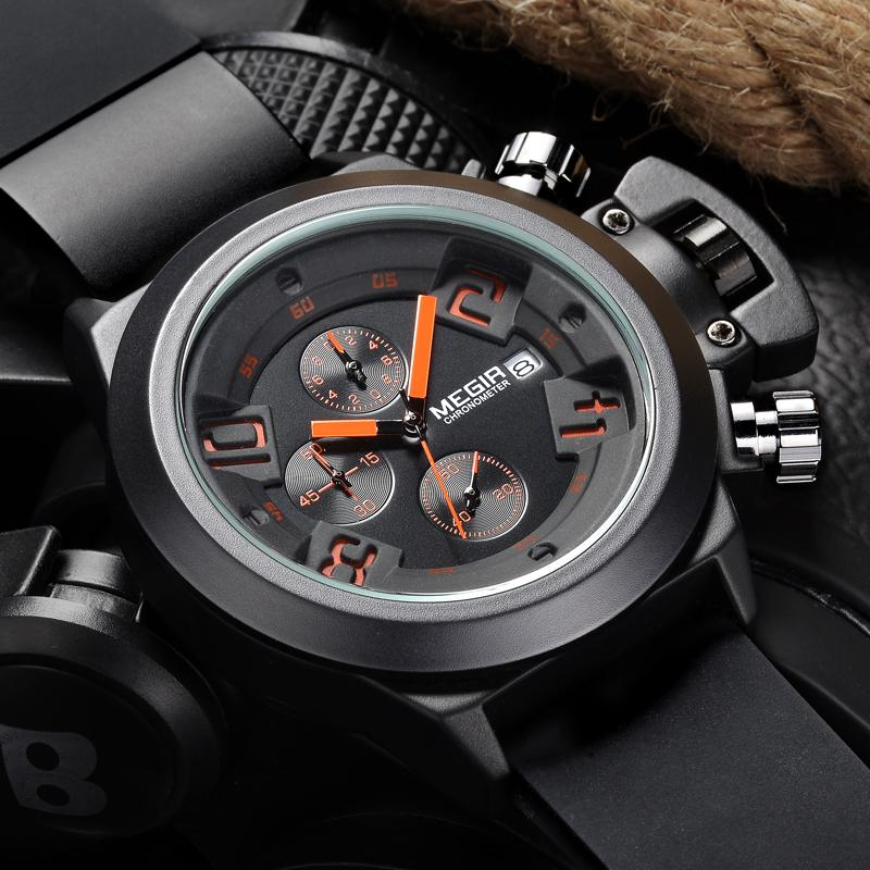 (Last Day Promotion)Men's Casual Quartz Watch 3D Engraved Dial Black Silicone watches men Waterproof Military Sport Watch for Man