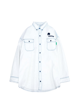 "<span style=""color: #ff2a00;"">Last One&nbsp;</span> WILLY CHAVARRIA / BIG DADDY BUTTON DOWN  WHITE BLEACH"