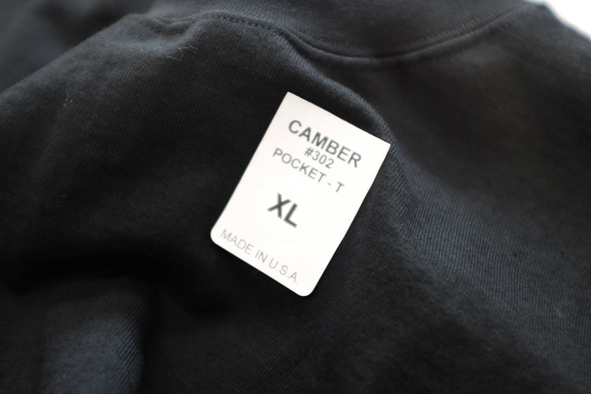 CAMBER (キャンバー) / 302 8OZ MAX WEIGHT POCKET T  LS Tも好評のMAX WEIGHTが半袖で登場です。こちらはBLACK。未だMADE IN USAを誇るCAMBER。タグ画像。
