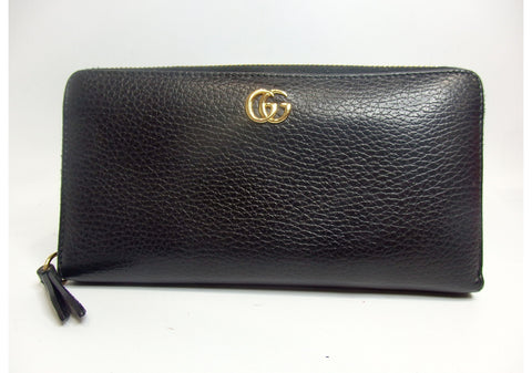 GUCCI GG Marmont Zip Around Wallet Black.