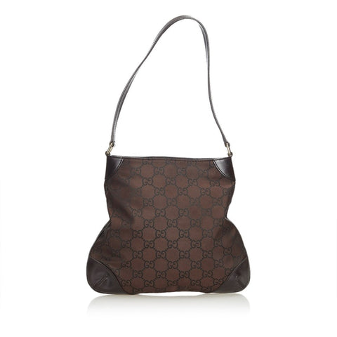 Gucci brown dark brown nylon fabric GG shoulder bag