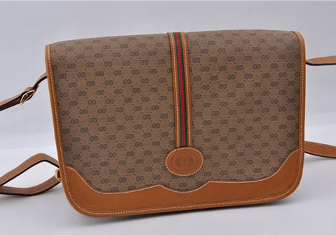 GUCCI Micro GG SherryLine Crossbody Bag PVC Brown