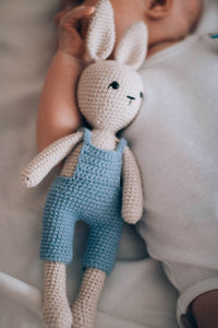 teddy rabbit baby holding in their moses basket