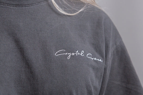 """Crystal Crew"" Embroidered Vintage Tee"