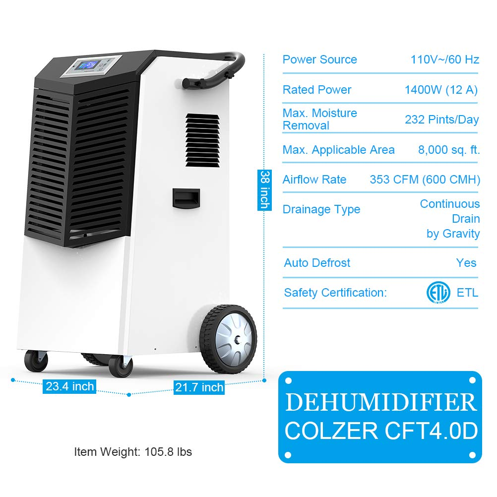 COLZER 232 PPD Commercial Dehumidifier for Basements