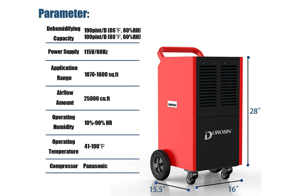 Dorosin 190 Pint Industrial Dehumidifiers for Warehouse