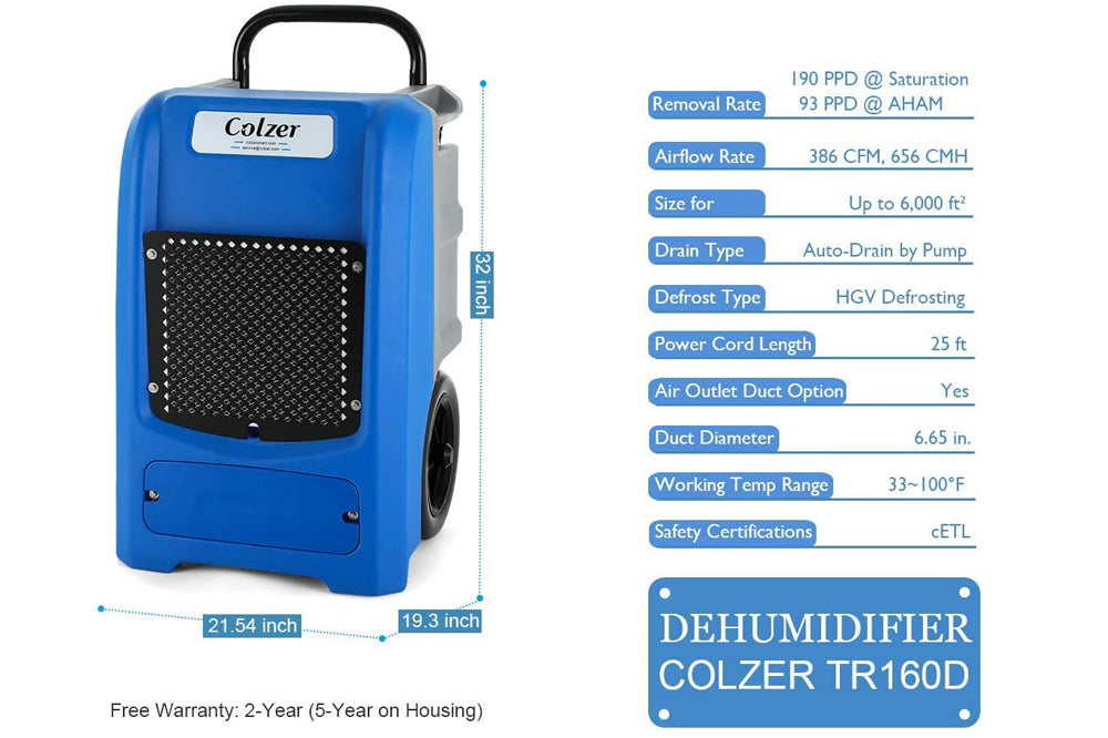 Colzer 190 Pints Commercial Dehumidifier with Pump