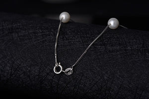 Silver Jewelry 12 PCS 6mm Pearl Box Chain Choker Necklace