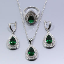 Load image into Gallery viewer, Silver Natural Green Jewelry Sets For Women