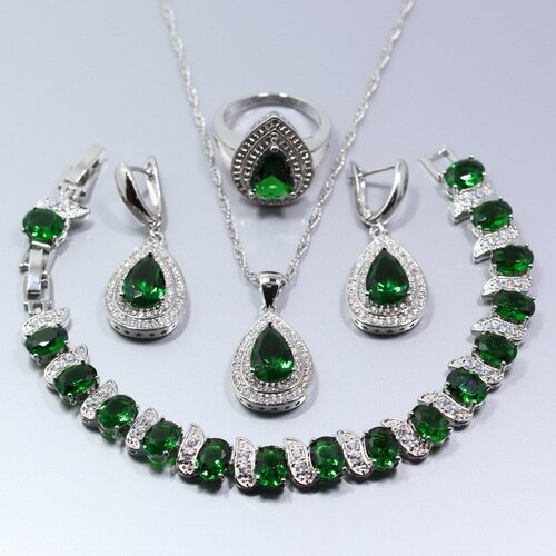 Silver Natural Green Jewelry Sets For Women