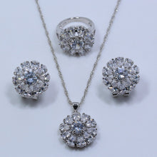 Load image into Gallery viewer, Silver Cheerful Flower White Zircon Color Jewelry Sets For Women