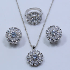 Silver Cheerful Flower White Zircon Color Jewelry Sets For Women